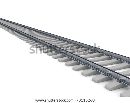 Railroad over white background. Computer generated image