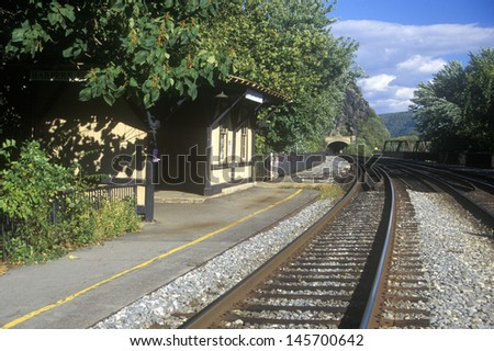 Railroad station and tracks in Harpers Ferry, WV - stock photo