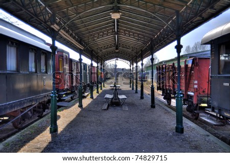 Railroad station HDR - stock photo