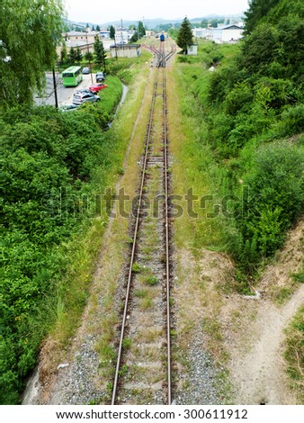 Railroad Station with train - stock photo