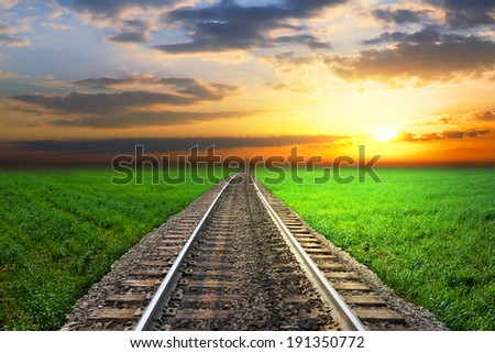 railroad sunset - stock photo