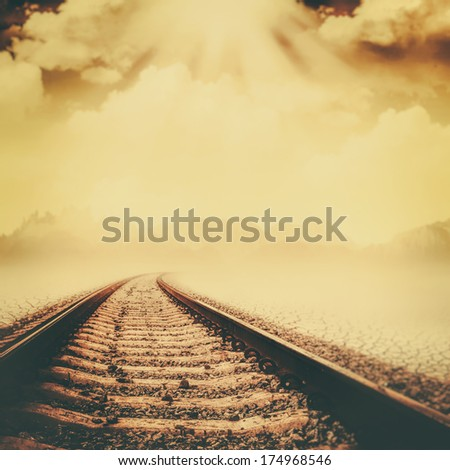 Railroad through the dead valley, abstract environmental backgrounds - stock photo