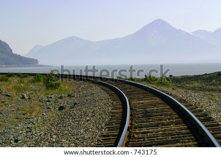 Railroad tracks along Turnagain Arm, Alaska