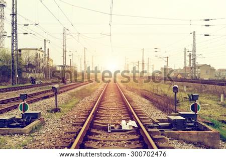 Railroad tracks in perspective - stock photo