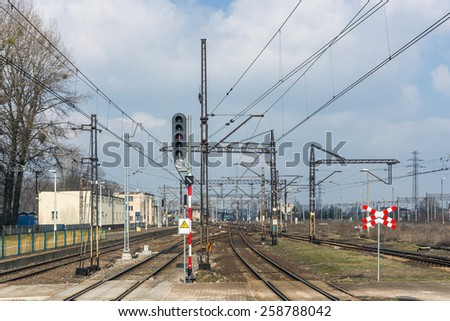 Railroad tracks in Tarnowskie Gory, Silesia region, Poland. Tarnowskie Gory is the largest rail junction in the area. - stock photo