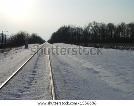 Railroad Tracks in Winter - stock photo