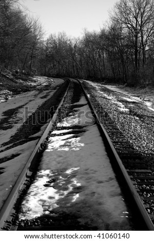 Railroad tracks on a cold winter day