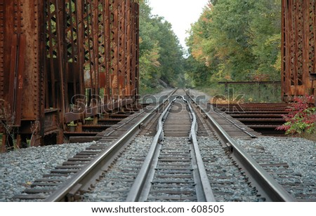 Railroad tracks over bridge