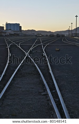 Railroad tracks running West out of El Paso at sundown