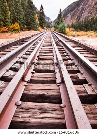 Railroad tracks. This train is in daily operation on the narrow gauge railroad between Durango and Silverton Colorado - stock photo