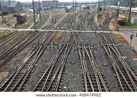 railroad tracks with switches - stock photo