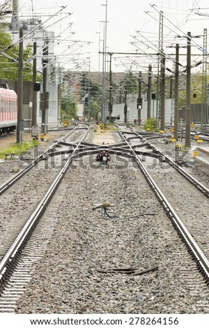 Railroad Train tracks - stock photo