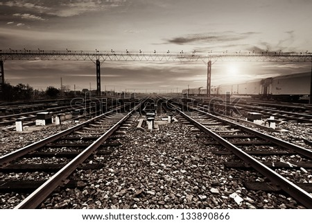 Rails under the sky background - stock photo