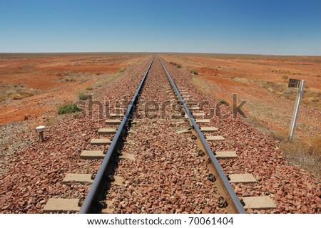 Railtrack in the Australian Outback - stock photo