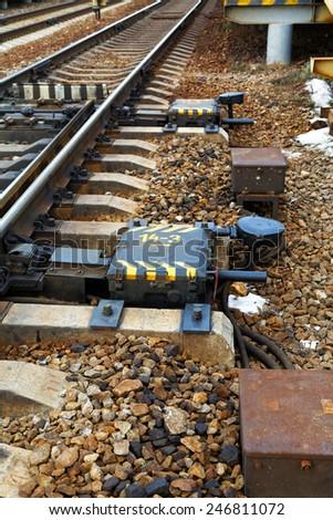 Railway arrow on the railway station - stock photo