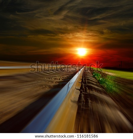 railway at the sunset - stock photo
