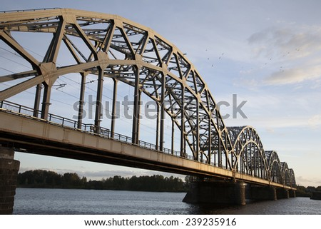 Railway Bridge and Banks of River Daugava, Riga, Latvia