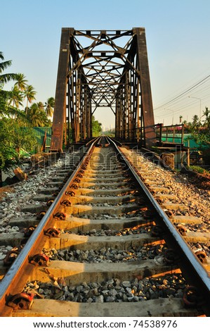 Railway bridge at Bangkoknoi, Talingchan, Thailand. It is near Talingchan floating market. - stock photo