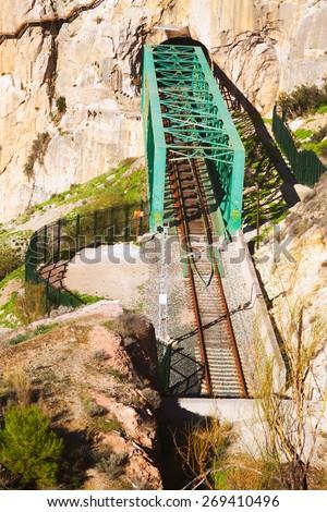 Railway bridge in rocky  and Caminito del Rey. Andalusia - stock photo
