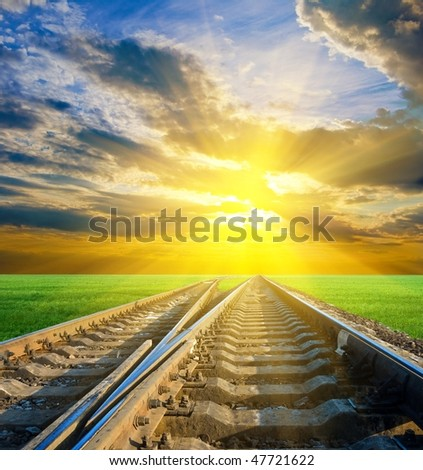 railway by a sunset