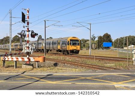 Railway crossing in Brisbane - stock photo