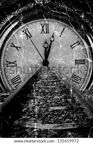 Railway disappear in watch grunge old art decay black and white - stock photo