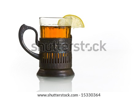 Railway glass holder. Tea with lemon.