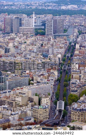 railway in city Paris from the Montparnasse Tower - stock photo