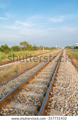 Railway in sunny day classical railway. - stock photo