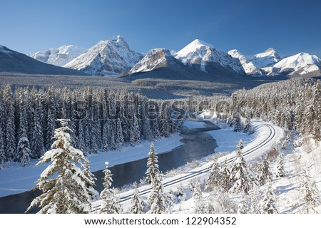 Railway in the Canadian Rockies - stock photo