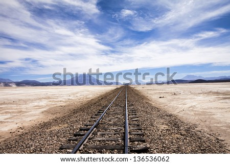 Railway in the desert near Uyuni, Bolivia - stock photo