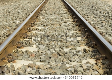 Railway in the park Diract Railroad , rail , rails , track , railway  - stock photo