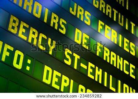 Railway information panel in Paris, France - stock photo
