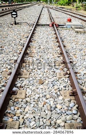 Railway on station - stock photo