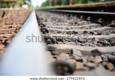 Railway or railroad tracks for train transportation.  - stock photo