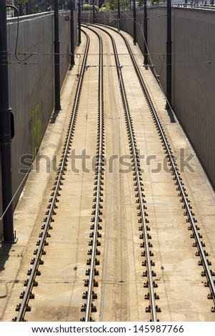 Railway pair from above - stock photo