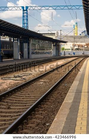 Railway, Railroad, train on the way - stock photo