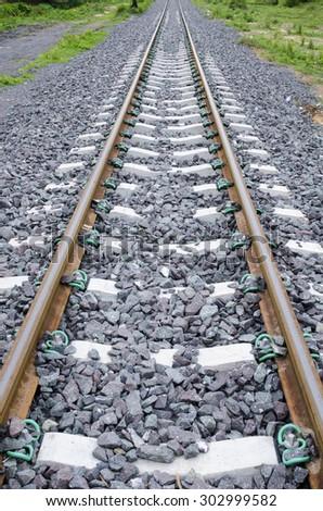 Railway, Railroad, Train Tracks - stock photo