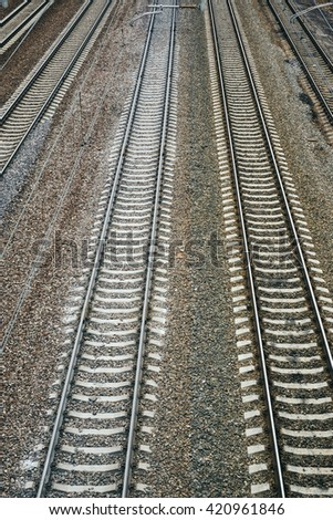Railway. Rails, sleepers, wire