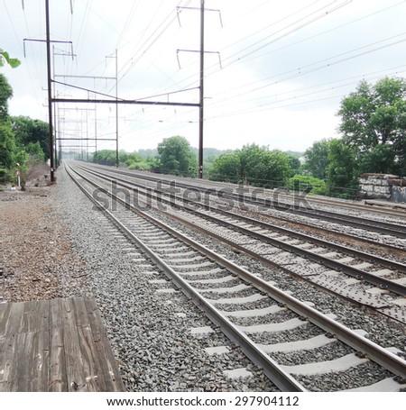 Railway road - stock photo
