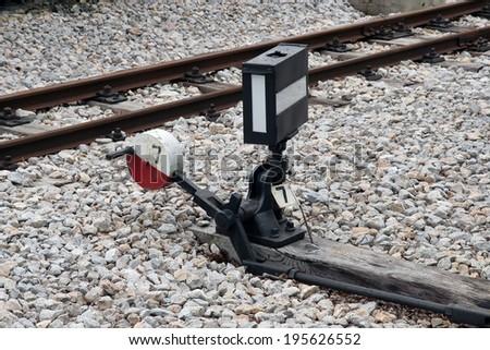 Railway shunt. Railway switch. Railroad shunt. Railroad switch. - stock photo