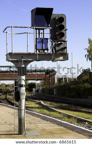Railway Signal Gantry - stock photo
