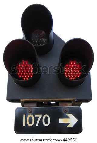 Railway signal lights - stock photo