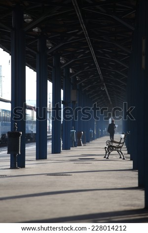 railway station at morning - stock photo
