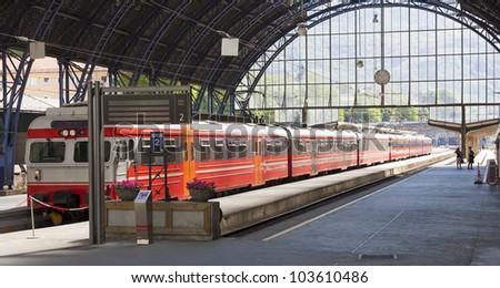 Railway station in Bergen Norway - stock photo