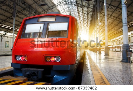 Railway station in Lisbon,Portugal in the morning - stock photo