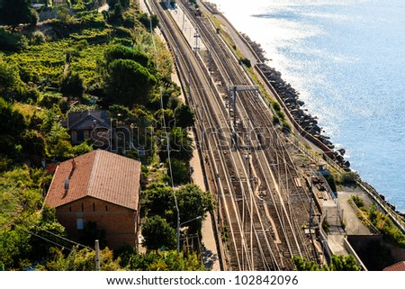Railway Station in the Village of Corniglia, Cinque Terre, Italy - stock photo