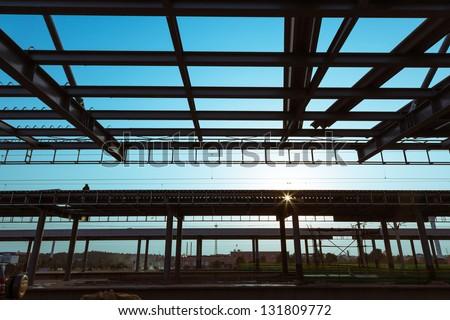 railway station near sunset - stock photo