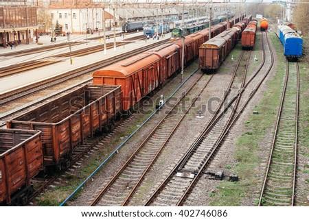 railway station, train - stock photo