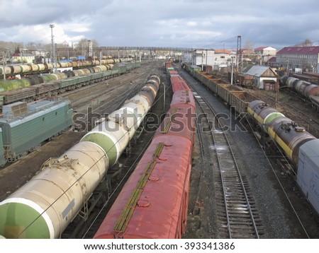 Railway station. Transportation - stock photo